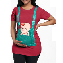 "Godier ""Baby Peeking Out"" New Maternity Cotton Shirt For Pregnant Women Plus Size Pregnancy Breastfeeding Clothe(China)"