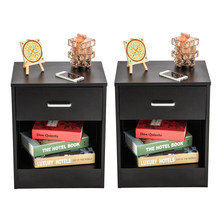 2pcs Night Stands with Drawer Black Wood Simple Bedside Table Cabinet Fahion Nightstand Bedroom Furniture(China)