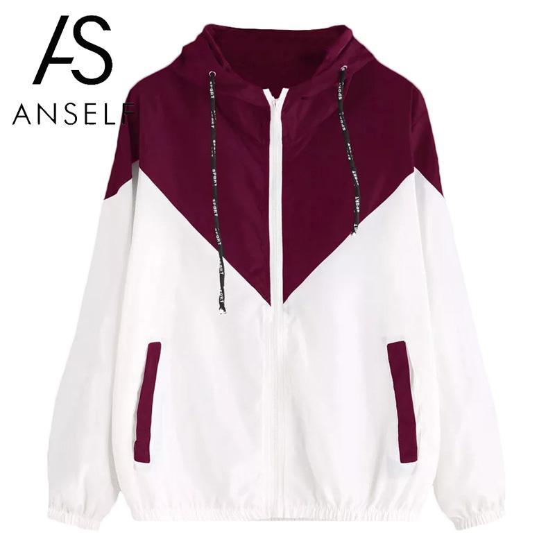 Women Hooded Coat Color Block Pockets Zipper Outdoor   Basic     Jacket   Windbreaker Casual Elastic Outwear Raincoat Moto   Jacket