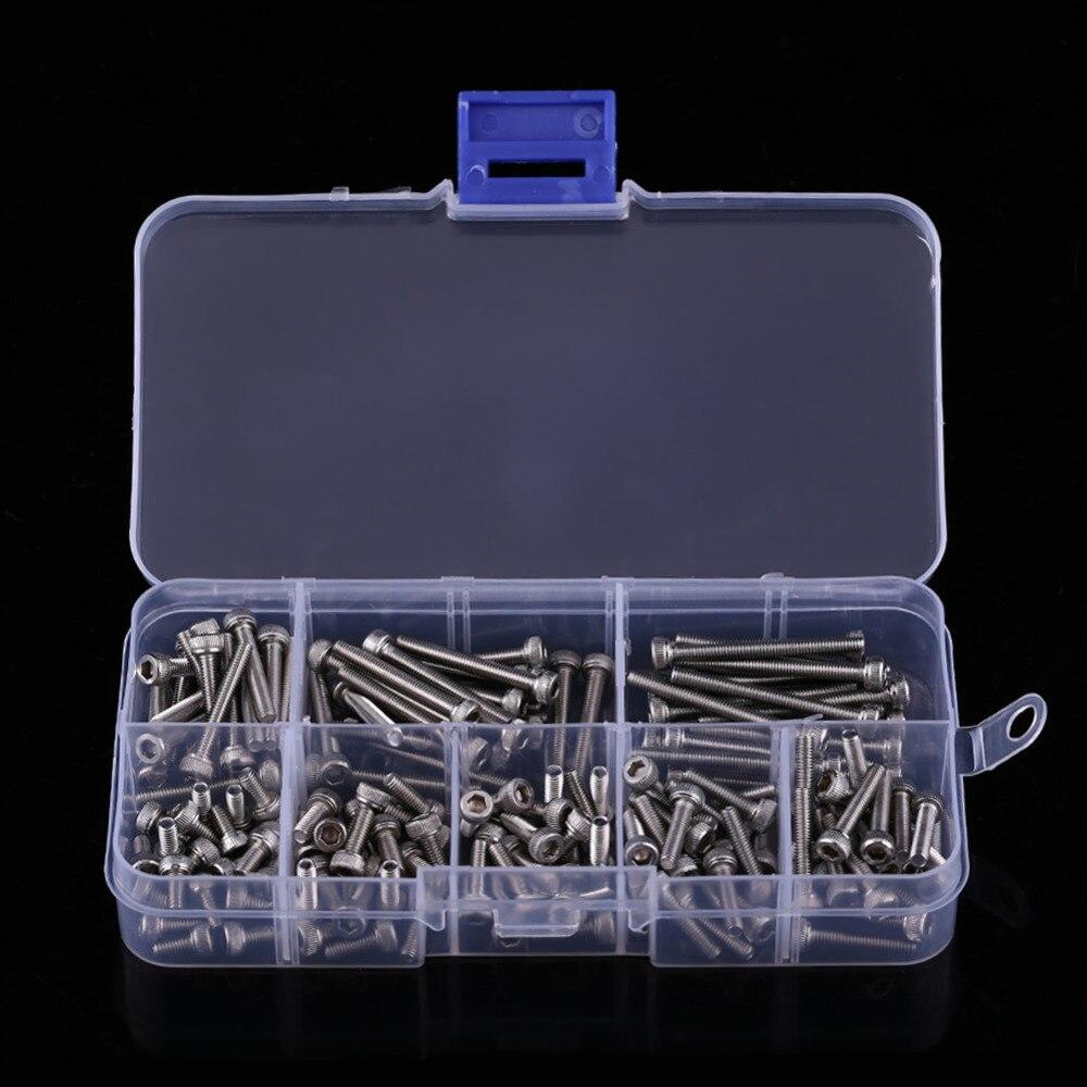 M3 x 6//8//10//12//16//20//25//30mm Walfront 160pcs 304 Stainless Steel Metric Thread Hex Socket Cap Head Screws Bolts with Storage Box