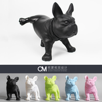 Resin French Bulldog Dog Figurine Vintage Home Decor Crafts Room Decoration Objects Living Room Dog Ornament Resin Animal Statue