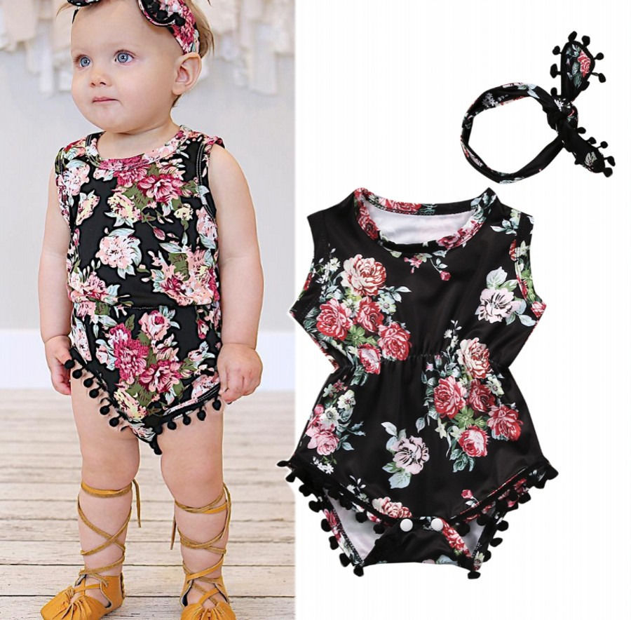 2PCS cute Floral flower summer 2017 toddler infant Baby Girls Romper One-pieces Sunsuit Outfits children Clothes Set 0-24M
