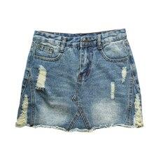 a モーダ faldas 夏のジーンズスカート女性ミッドウエストリッピング穴デニムスカートの女性のミニスカートペチコートファムカジュアル