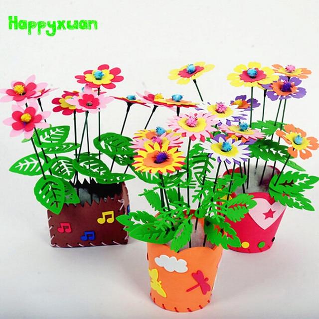 Happyxuan 5pcs/lot EVA Foam Craft DIY Flower Pot Kits Children Girls 3-6 years Kindergarten Creative Educational Toy for Girls