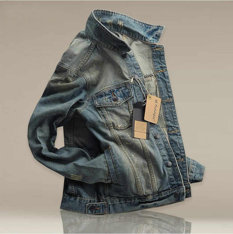 Hi-sokak Erkekler Yırtık kot Ceketler yıkanmış patchwork Sıkıntılı Denim Erkek Slim Fit Streetwear HipHop Vintage Ceket