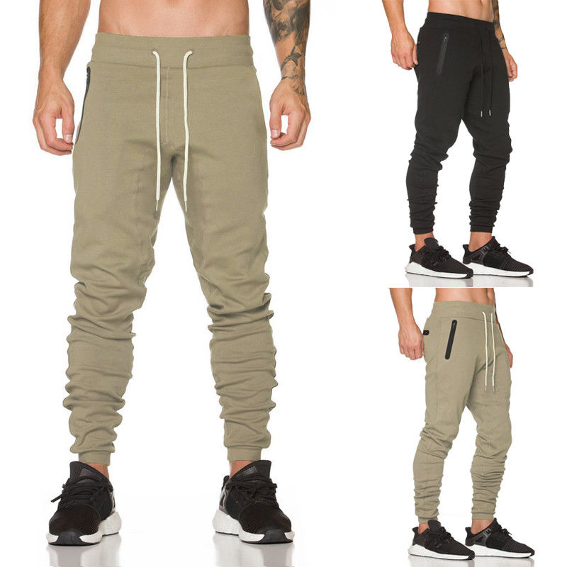 Newest Men's Casual Bottoms Full Length Mid Waist Khaki Black Colors Pockets Trousers Sweat Pants