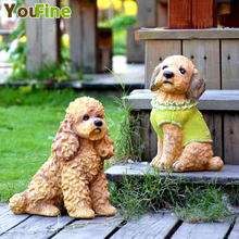 цена на Simulation dog ornaments Feng Shui lucky Teddy dog living room home decoration animal crafts creative opening gift