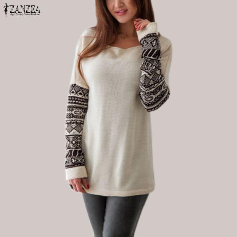 Women T shirts Vintage Printed Casual Slim Shirts ZANZEA 2019 Autumn Female O Neck Long Sleeve Cotton Tee Tops Blusas Plus Size