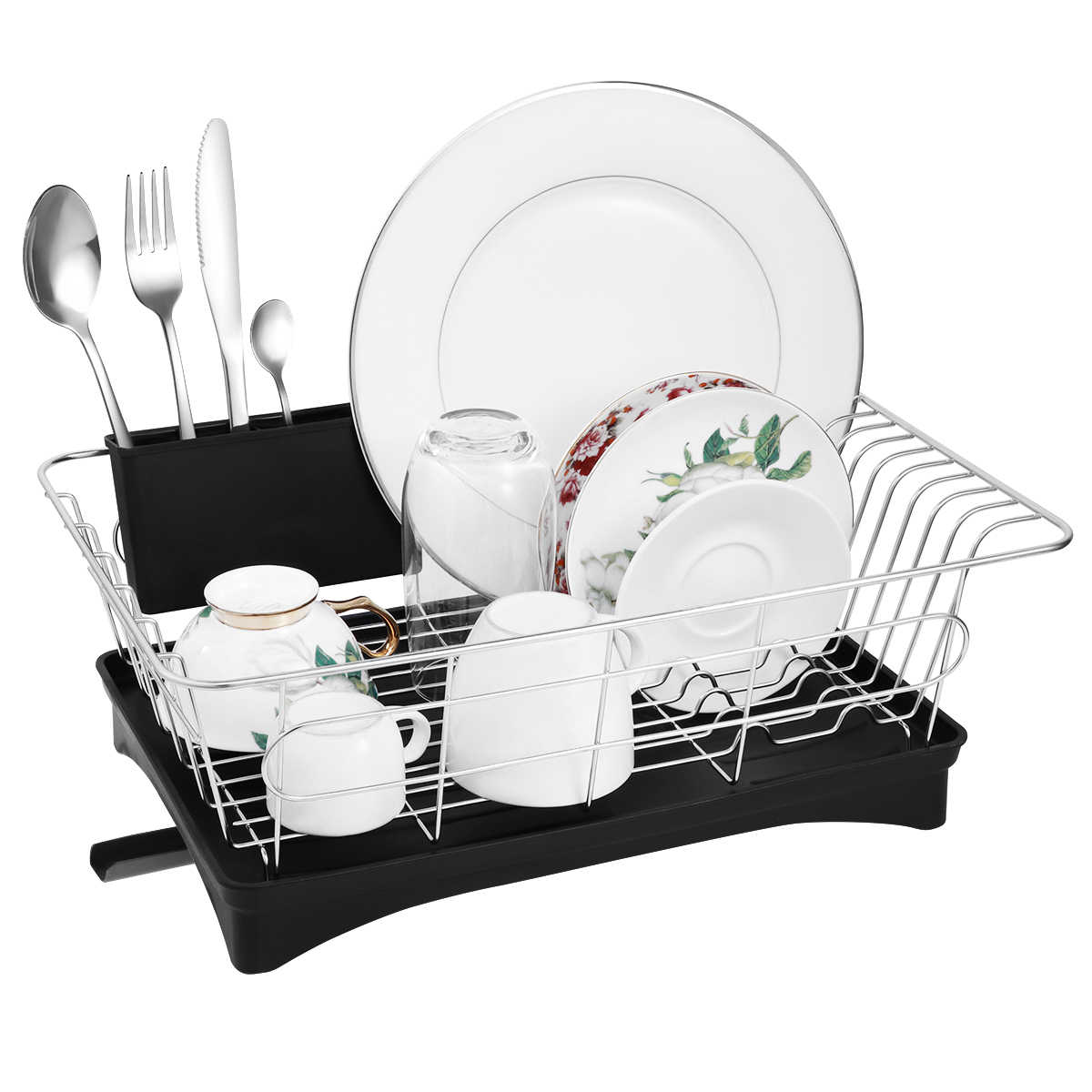 Dish Drying Rack Hollow-out Durable Stainless Steel Detachable Dish Drainer  Tableware Holder Utensil Organizer 53a09c3a2a88