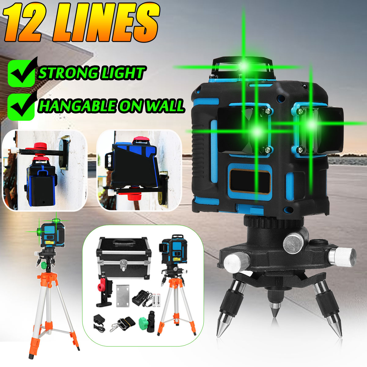 Zeast Professionnel 12 Lignes 360 3D Vert Laser Niveau Auto Nivellement Horizontal ligne verticale Niveaux Avec Trépieds ensemble d'outils Cas