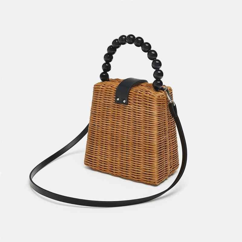 3c37cb9d1681 Маленькая сумка-тоут, соломенная сумка, Портативная сумка ручной работы,  Женская плетёная ротанговая