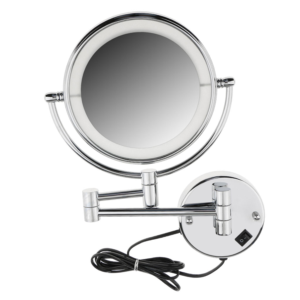 8inch LED Surround Wall Mount Vanity Mirror Swivel Extendable for Makeup Cosmetic Bathroom Shower Shaving Stylish Finished8inch LED Surround Wall Mount Vanity Mirror Swivel Extendable for Makeup Cosmetic Bathroom Shower Shaving Stylish Finished
