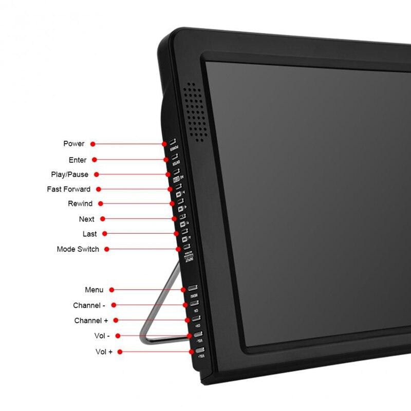Portable 12 pouces Tft Led 1080 P Hd Pvr H.265 Dvbt2 numérique analogique Tv voiture télévision Support Usb Tf lecteur de carte