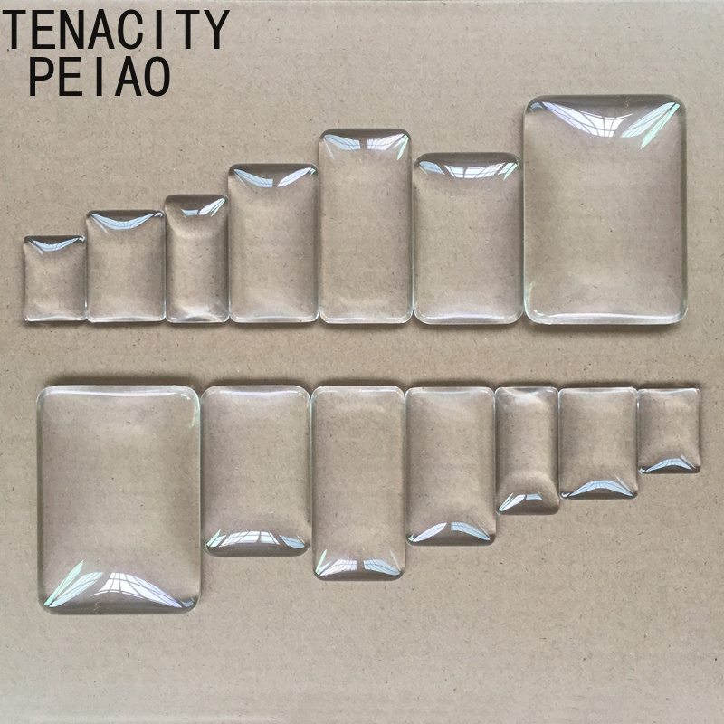 18mm-48mm Rectangle Flat Back Clear Glass Cabochon For Pendant Tray Setting DIY Jewelry Photoes High Quality Jewelry Finding