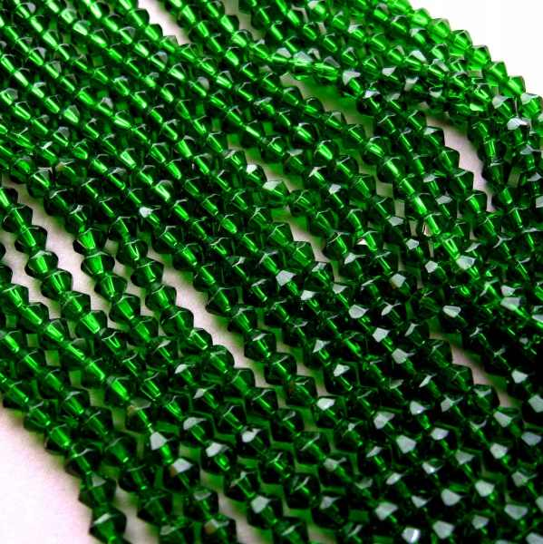 Natural Green 4mm Bicone Crystal  Beads 80pcs a lot
