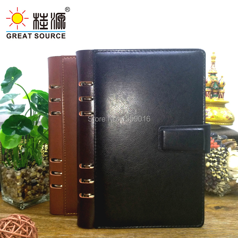Binder Folder Leather A5 Notepad Clear Pen Bag  Colorful Sticker And Sticky Note Agenda Planner