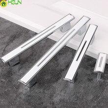 """192 мм 256 мм современный простой модный Кухня шкаф дверные ручки серебро белый ящик, комод, шкаф ручки тянуть """" хром"""
