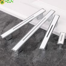 192mm 256mm Modern Simple Fashion Kitchen Cabinet Wardrobe Door Handles Silver White Drawer Dresser Cupboard Knob Pull 5