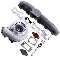 Gt35 gt3582 turbo supercharger para r32 r33 r34 rb25 rb30 t3. 70 .63 a/r coletor de escape diesel anti impulso turbocompressor