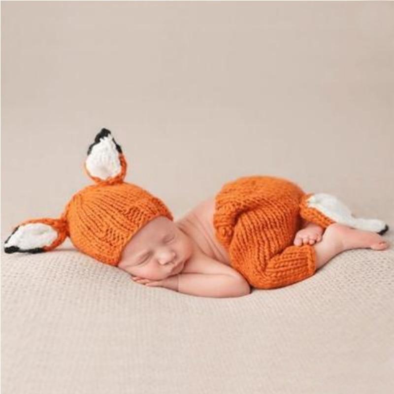Noworodek fotografia rekwizyty Cute Baby Fox odzież do zdjęć niemowlę czapka z dzianiny Fox czapka z uszami + zestaw spodni rekwizyty fotograficzne dla dzieci