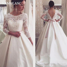 VAMOLASC O Neck Sexy Backless Sweep Train A Line Wedding Dresses Crystal Sash Lace Appliques Illusion Sleeve Bridal Gowns