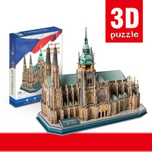 Happy Cube 3d Three Dimensional Jigsaw Czekh St. Vitus Cathedral Assembling Church Architecture Model Kid Toy Christmas Gift