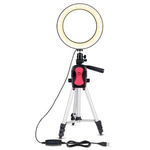 Image 2 - 7.9 inch Photo Studio Phone Stand with LED Beauty Ring Light Photography Dimmable Fill in Light Lamp+Tripod For Selfie Live Show