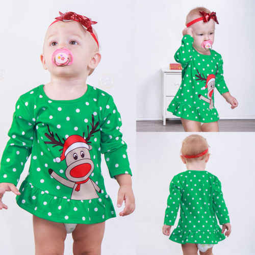 12bbe8fbcb22c Little Girls Xmas Elf Mini Dress Toddler Infant Baby Girl Casual Clothes  Long Sleeve Tops shirts Autumn 0-5T