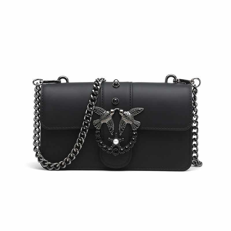 2018 New Swallow Brand Handbag Women Messenger Flap Bag Lady Rivets Chain  Luxury Designer Fashion Leather 5334e7df728d