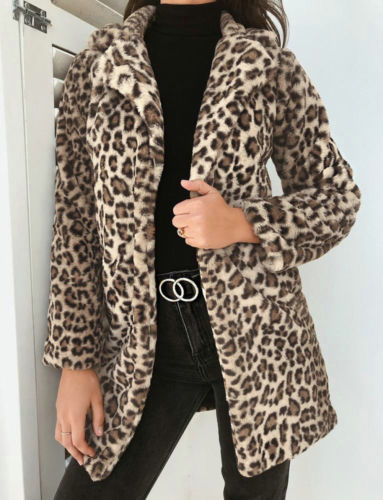2018 Winter   Coat   Women Jacket Faux Fur Outwear Warm Fleece   Coat   Animal Print Streetwear Women Cardigan Leopard Outwears autumn