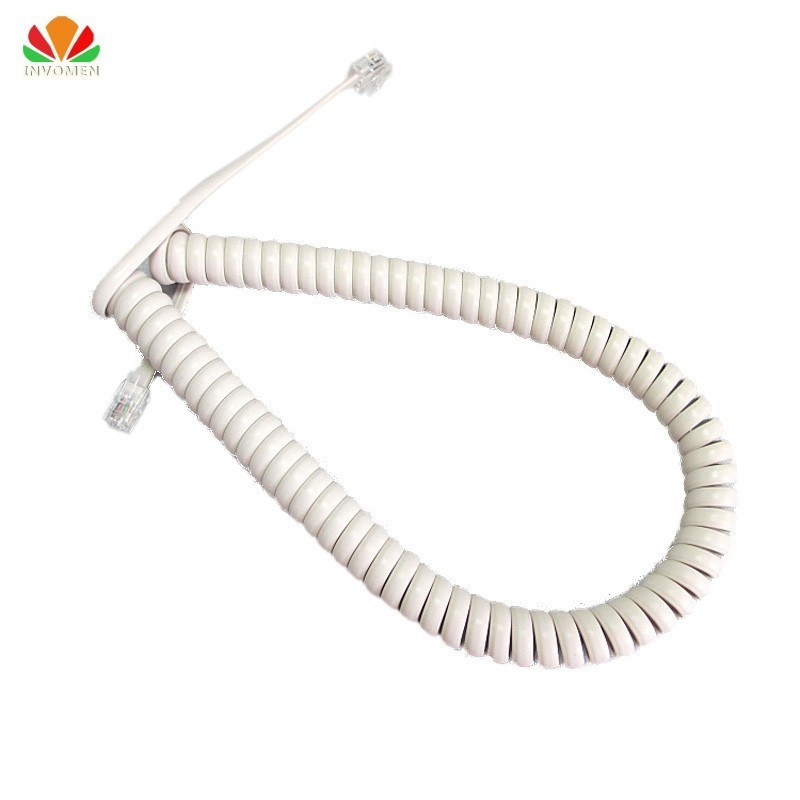 Quality White 35cm Telephone Cord Pure Copper OFC Wire Phone Volume Curve Microphone 4P4C Connector Telephone Cable Handset Line
