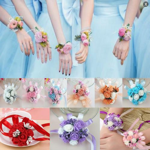 Artificial Wrist Corsage Bracelet Bridesmaid Sister Hand Flower Wedding Party Bridal Prom Decor