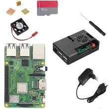 Штепсельная Вилка европейского стандарта Raspberry Pi 3 Model B Plus с Wi-Fi и Bluetooth+ чехол из АБС-пластика+ вентилятор процессора+ питание 3 А с переключателем вкл/выкл+ радиатор Pi 3 B+ Pi 3