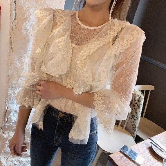 Mode coréenne élégant volants Flare manches blanc maille dentelle Patchwork Blouses femmes 2019 printemps piste hauts