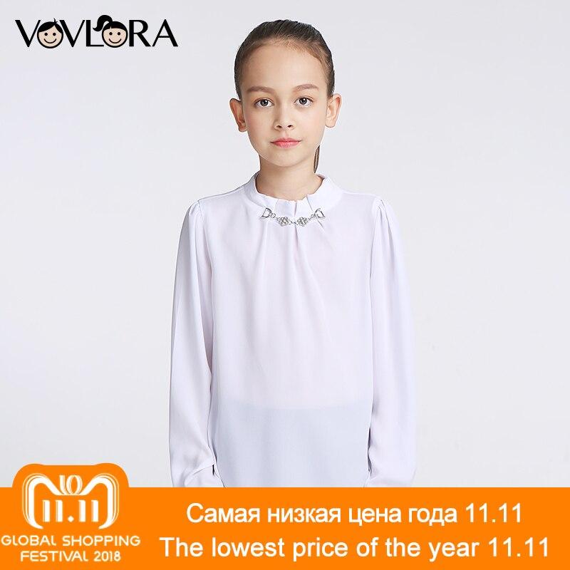 цены на Girls Blouses Tops Long Sleeve Chiffon White Kids School Blouse Solid O-neck Spring 2018 Children Clothes Size 9 10 11 12 13 14 в интернет-магазинах