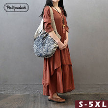Pickyourlook Cotton Linen Dress Plus Size Autumn Solid Casual Button Robe Femme Ladies Maxi Dress Ruffle Hem Loose Female Dress