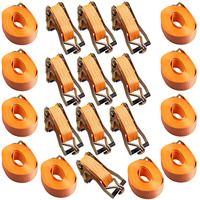 Orange Polyester Ratchet Tie Down Cargo Straps for Car Vehicle Tie Down Trailer 10 x 50mm x 8m sale