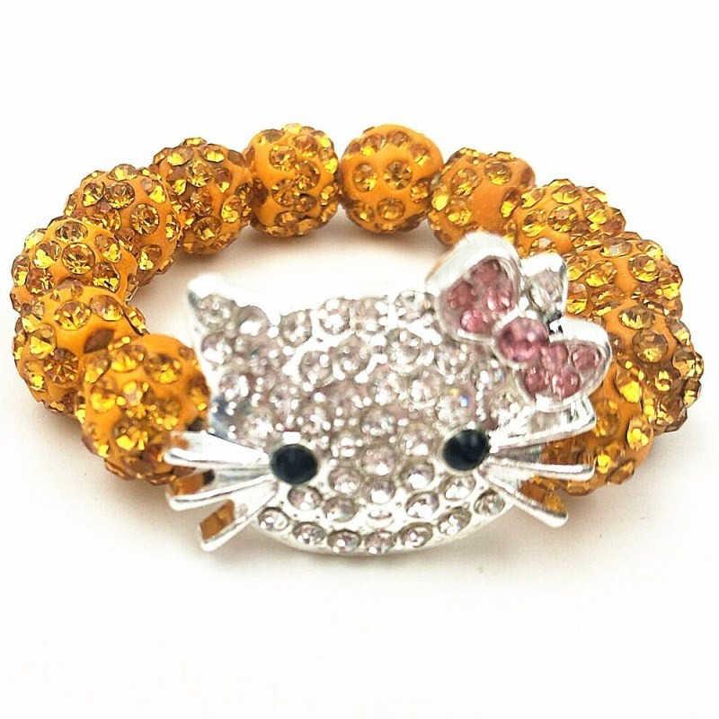 Anak-anak Kucing Kepala Crystal Gelang untuk Anak Lucu Shamballa Gelang Gelang Strand Gelang untuk Wanita Perhiasan Hadiah