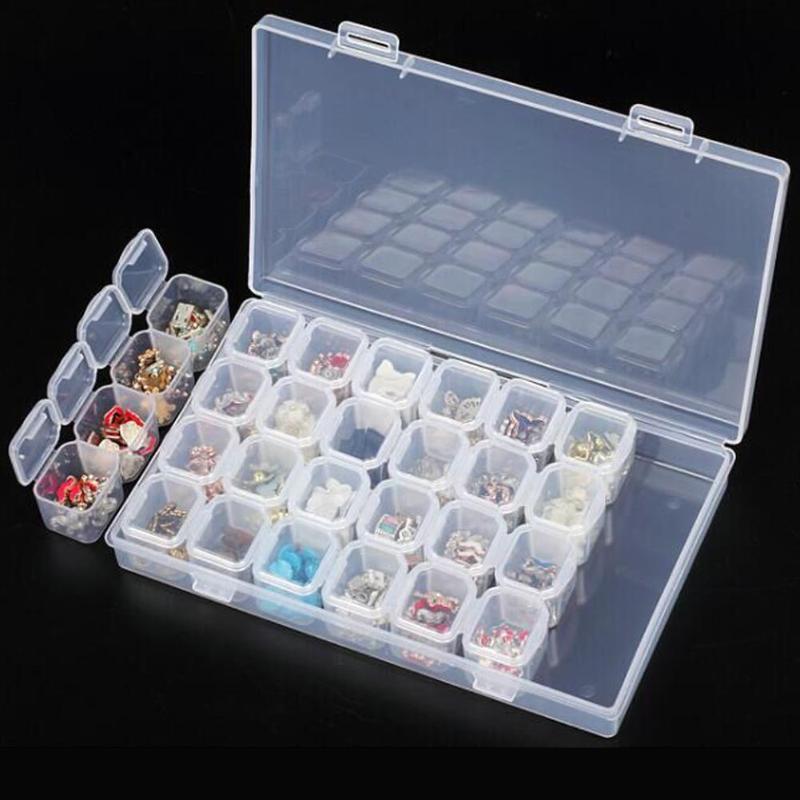 28 Slots Empty Plastic Storage Box Nail Art Rhinestone Jewelry Storage Beads Display Diamond Container Case Organizer Holder