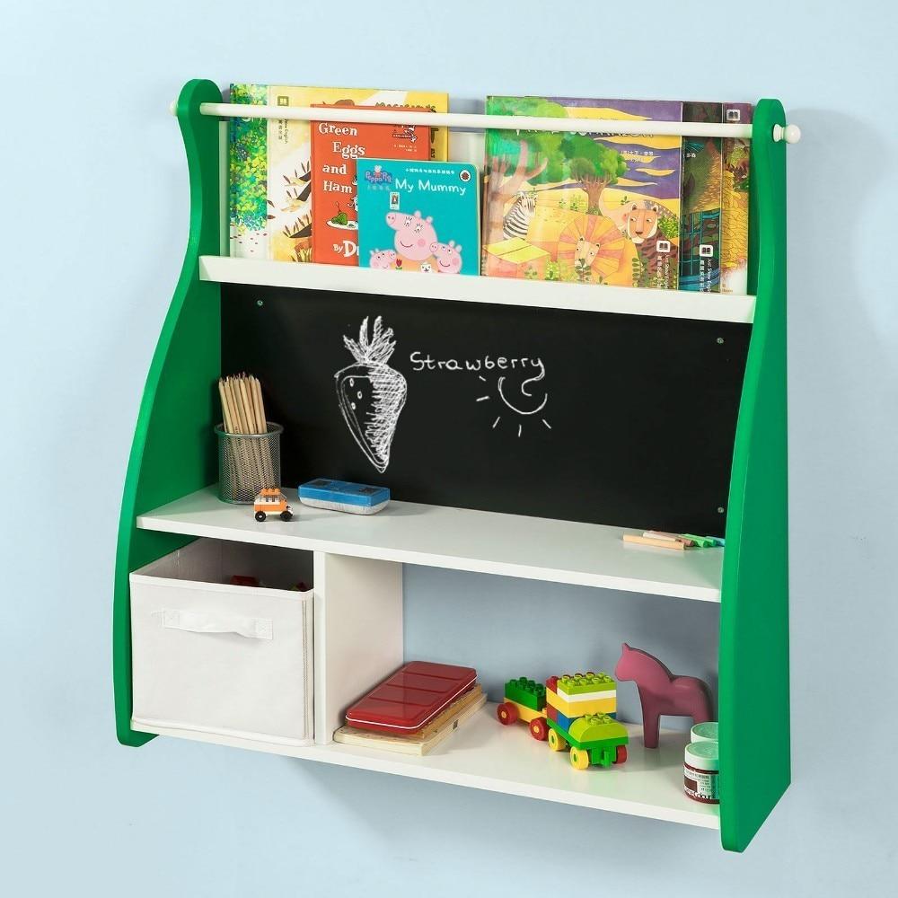 SoBuy KMB09-GR, Wall Mounted Children Kids Bookcase Storage Display Shelving Rack Wall Desk With Blackboard
