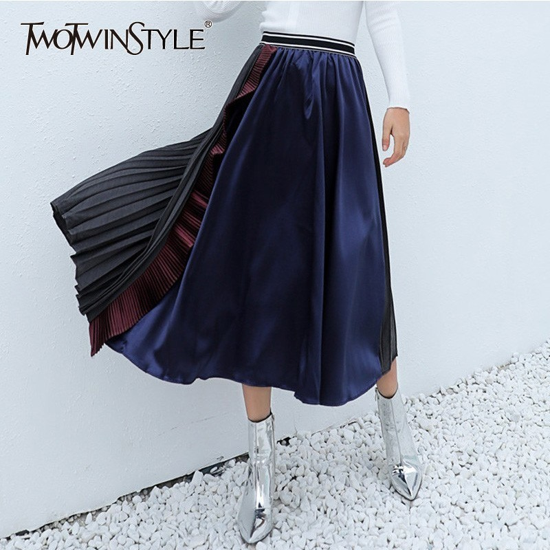 TWOTWINSTYLE Spring Hit Colors Skirts For Women Elastic High Waist Ruffles Patchwork Pleated A-line Skirts Female Fashion Tide