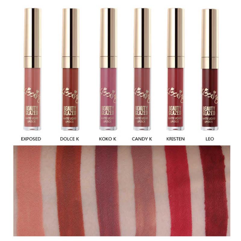 Beleza Vitrificada 1/6 pcs Brilho perolado-brilho Lip Stain Gloss Batom Líquido Brilho Labial de Longa Duração À Prova D' Água tonalidade lábio TSLM2