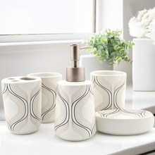 Household Products Ceramic Stripe Geometric Bathroom Sets Lotion Bottle Soap Box Toothbrush Holder Bathroom Accessories newest 5 pcs resin bathroom accessories sets lotion dispenser toothbrush holder soap dish 2 tumbler sets 2017