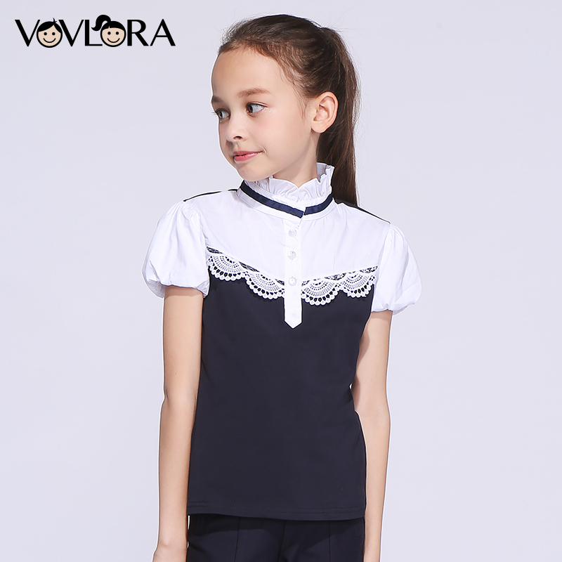 Kids T shirt Cotton Ruffle Lace Girl Tops T-shirts Turtleneck Short Sleeve Summer School Clothes 2018 Size 7 8 9 10 11 12 Years plus size bell sleeve lace insert t shirt