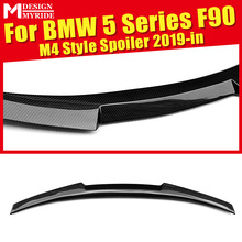 цена на 5-Series F90 M4 Style Black Rear Trunk Spoiler Tail Wing For BMW F90 Carbon Fiber Rear Trunk Wing Spoiler Auto Car Styling 2019+