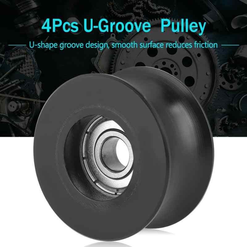 4 pces quentes preto metal plástico 0840uu u tipo u-sulco polia rolo guia roda 8x40x20.7mm para peças de transmissão de energia