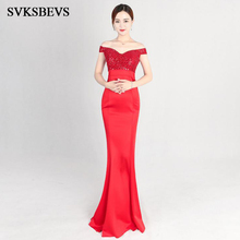 SVKSBEVS 2019 Sexy Deep V Neck Beading Long Dresses Elegant Party Mermaid Off The Shoulder Lace Backless Maxi Dress