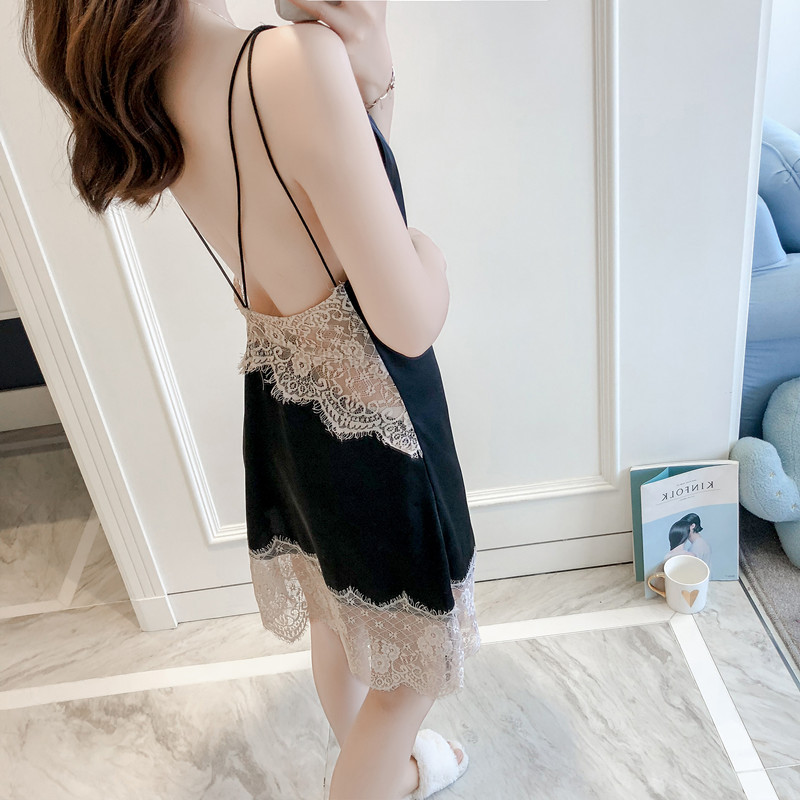 QWEEK Nightgown Ladies Dress Lace Sexy Nightdress Backless Night Wear Sexy Cross Bandage Satin Nightwear Lingerie Nightgown