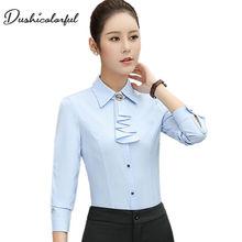 Elegant ladies long-sleeve shirt autumn white purple bow tie chiffon women blouse work wear formal office plus size top sky blue