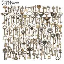 KiWarm 130 sztuk Antique Vintage stary wygląd brązowy ozdobny szkielet klucze Lot naszyjnik wisiorek fantazyjne serce DIY rękodzieło na prezenty